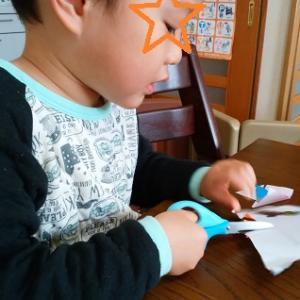ダイソーの本で、折り紙の取り組み ☆ 長男3歳9カ月