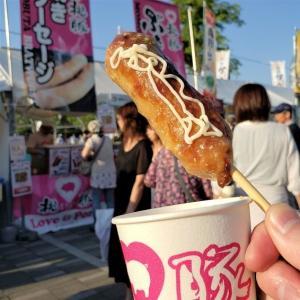 祭りの出店で食べた「ぶたんぽ」(秋田)