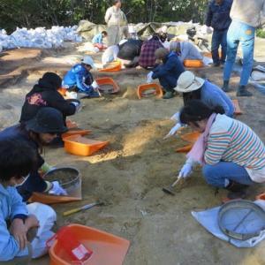 古墳の調査発掘体験
