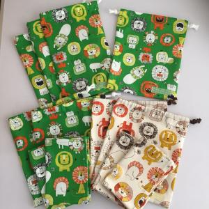 ライオン柄☆コップ袋1点、縦長巾着3点、給食セット4点出来上がり♪