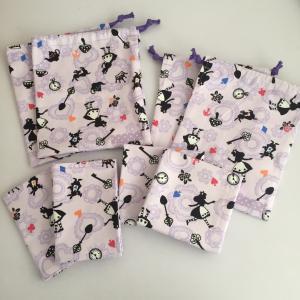 アリス柄紫色☆給食袋、コップ袋2点ずつ、ランチョンマット4点出来上がり♪