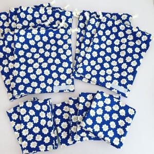 花柄ブルー☆給食セット6点、コップ袋3点出来上がり♪