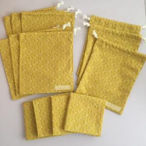 北欧鳥柄 黄色☆給食セット4点、給食袋2点、コップ袋3点出来上がり♪