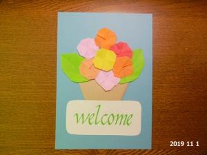 折り紙でカード作り。