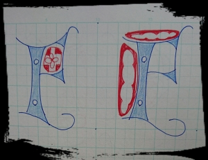 カリグラフィー練習 ヴァーサル体 F