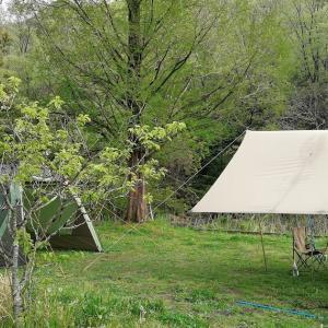 GWの古法華自然公園でワンコのとティピーテントのキャンプデビュー【4年目13泊目】
