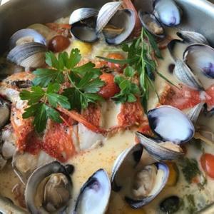 金目鯛のアクアパッツァ&お刺身サラダ