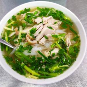 香草スープが独特の鶏肉フォーを朝食に!(ハノイ街巡り103)