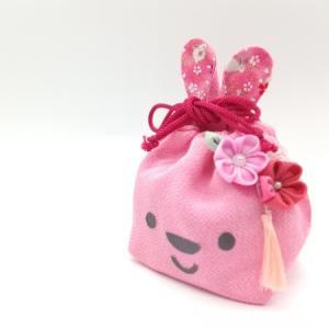 【生徒様作品】ピンクのちりめんうさぎ巾着 手作りキット生徒様