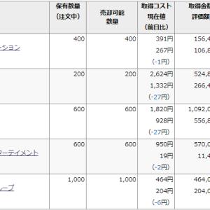 日経平均は22円安なのに、私の保有株は。。。