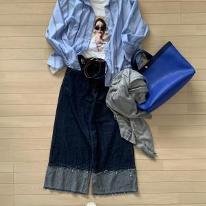 ★「プリントTシャツ+ストライプシャツ+ワイドデニム」10着リアルコーデ