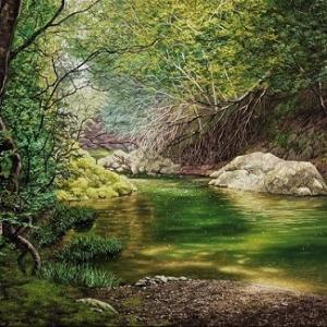ヤフオク出品「緑陰」 「早春の湿原」