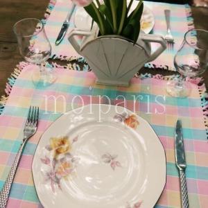ブロカント皿でパステルなテーブルコーデ