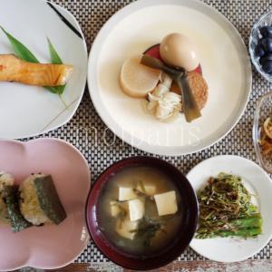 パリで美味な玄米おにぎり&鮭の味噌漬け定食