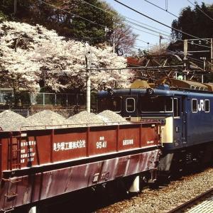 桜が満開の古里駅で旅客列車を退避する青梅線貨物列車 1998年