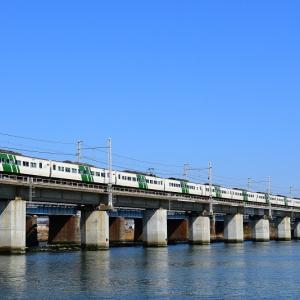 馬入川橋梁を渡る踊り子105号 2019年