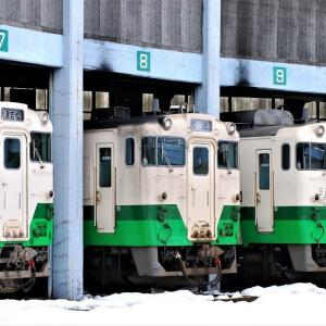 会津若松の扇形庫に憩う只見線キハ40 2008年