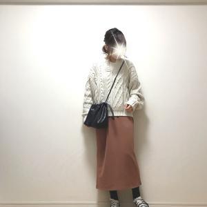 旬なニット+暖かくて楽ちんなスカート