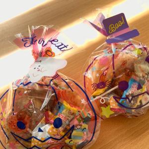 ハロウィンのこどものお菓子用にカボチャのバッグ♪