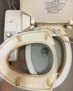 トイレの掃除。食事中の方は見ないでください。