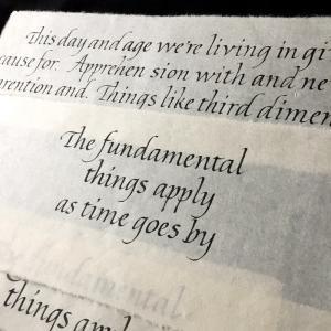 イタリック体 和紙と墨で