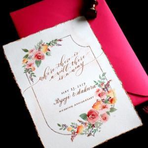 薔薇やお花の水彩画を添えたお祝いのカード その1
