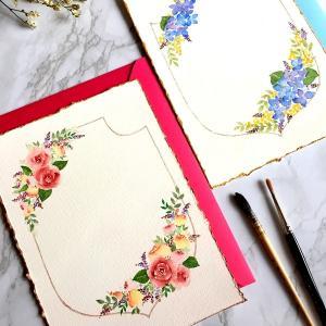 水彩画 カリグラフィーに添えるお花を描WS その2