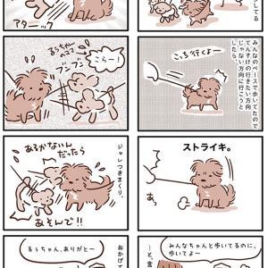 【犬漫画】歩かない犬にお友達の制裁パンチ