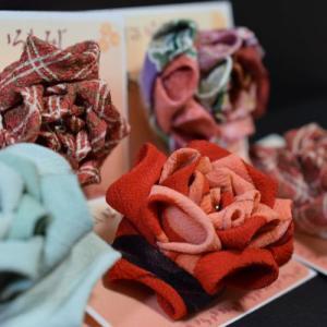 縫いつまみの薔薇モチーフ