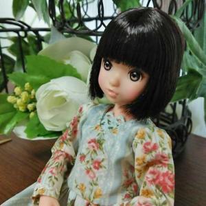 花柄ワンピースを試作、23cmドールサイズのお洋服です