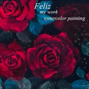 ミステリアスな赤いバラ  水彩画