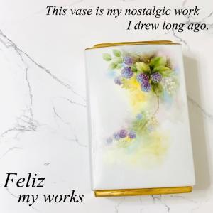 手描きの花瓶にフェンネルをいけました♬