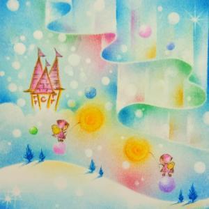 パステルアート『雲の上のお城』