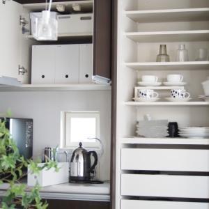 キッチン背面カウンター、大掃除からの模様替え