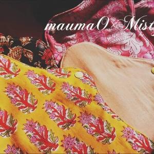 インド更紗と月桃染めの布ナプキン