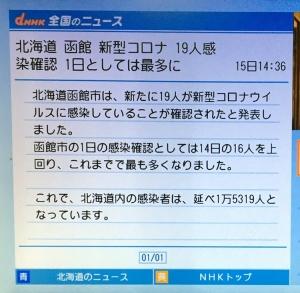 【函館コロナ、連日の記録更新】1/15発表は19名、13日連続の103名に!