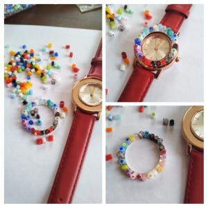 ミルフィオリの時計、色合わせに悩み中。
