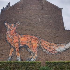 ラブリー❤️ な狐のウォールアートに遭遇♪