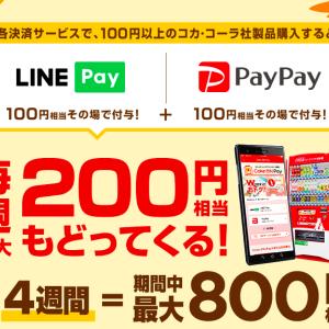 「Coke ON Pay」に登録したPayPay・LINE Payで支払うと100円相当戻ってくる!合計800円相当還元。