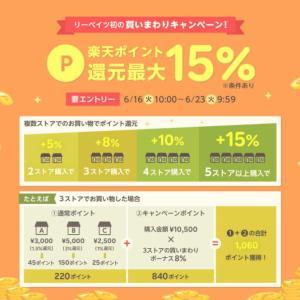【楽天リーベイツ】初の買いまわりキャンペーン。楽天ポイントが最大+15%還元!(6/16~6/23)