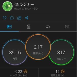 6km夕方ラン(R2.6.24)