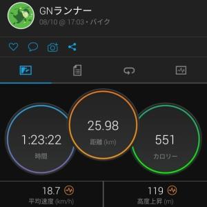 夕方26kmライド(R2.8.10)
