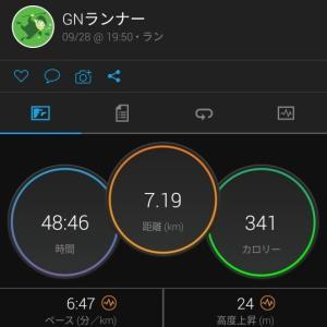 7km夜ラン(R2.9.28)