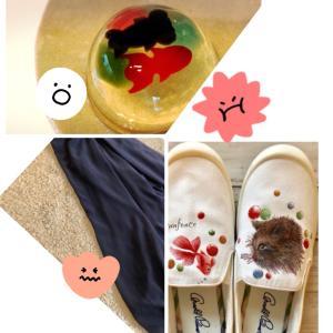 危なかった!(>人<;) * 金魚ゼリーと金魚を描いた靴