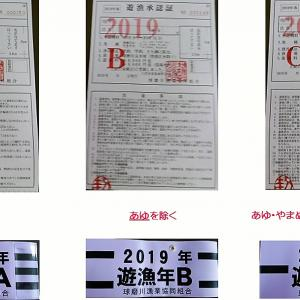 2019年(平成31年)球磨川漁協 遊漁券は紫色 順次取り扱い開始