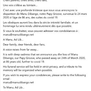 カメルーン出身のシンガー&サックス奏者、Manu Dibangoが死去