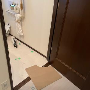 エミココハウス☆リフォーム工事☆お化粧室の床貼り替え〜❣️