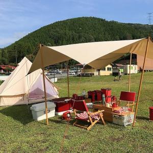 デュオキャンプのタープ!2人で使うにはベストなタープだと思います。