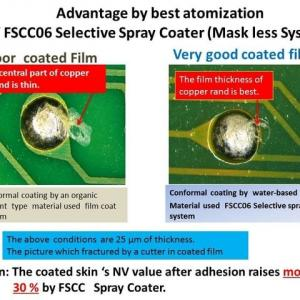 Advantage by best atomization of FSCC06 Selective Spray Coater (Mask less System)