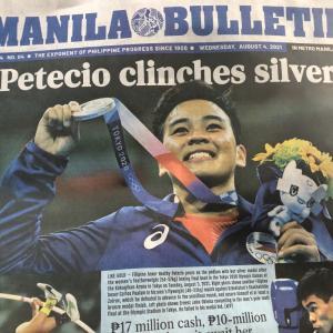 マニラの新聞の一面はペテシオ選手